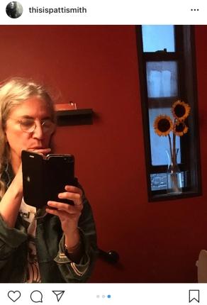 Patti smith in a cafe bathroom